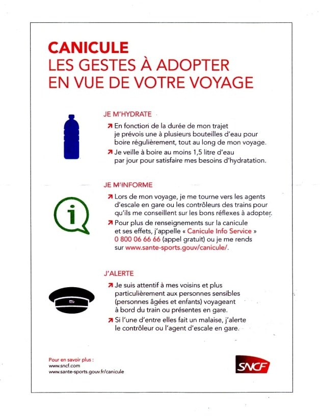 Conseils canicule SNCF