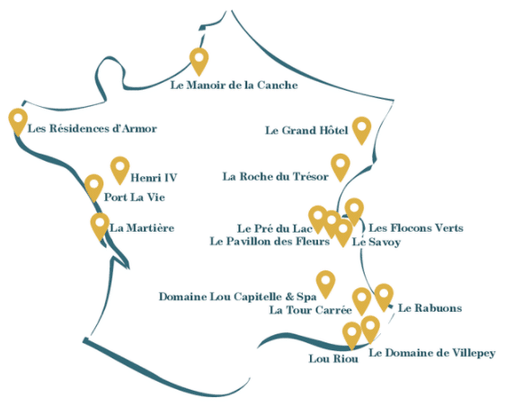 Carte des villages Ternélia qui proposent des Séjours Bleus et Loc' Liberté