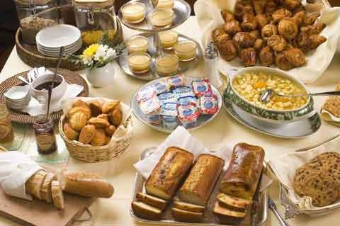 Buffet du petit déjeuner du Château d'Ygrande