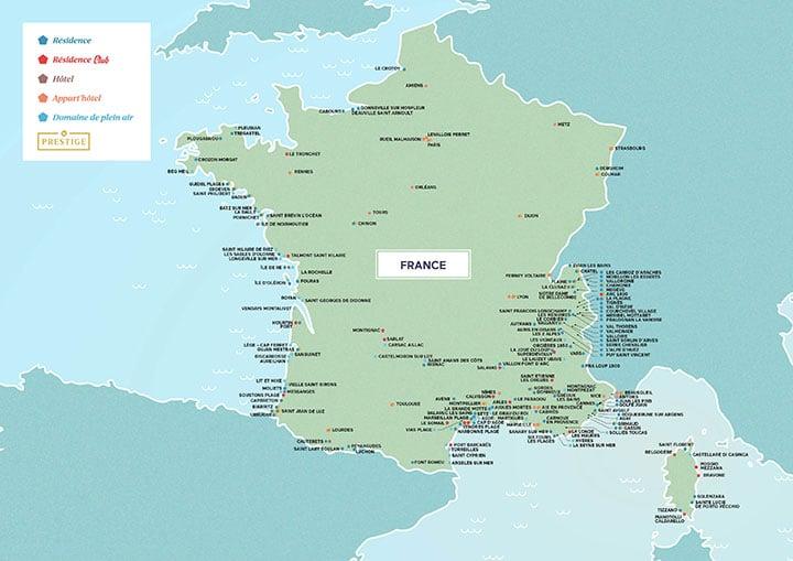 Carte de France des résidence Odalys Vacances