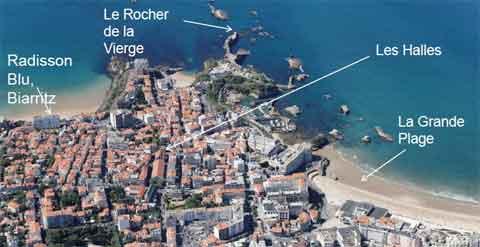 Situation du Radisson Blu Hotel à Biarritz