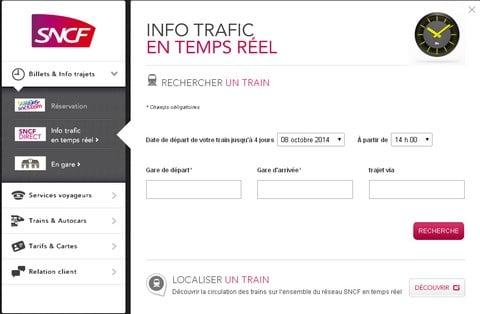 Service d'info trafic en temps réel de la SNCF