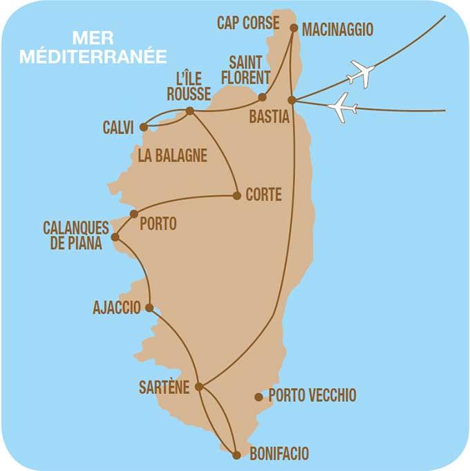 Carte du Circuit en Corse