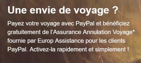 Assurance annulation voyage Paypal