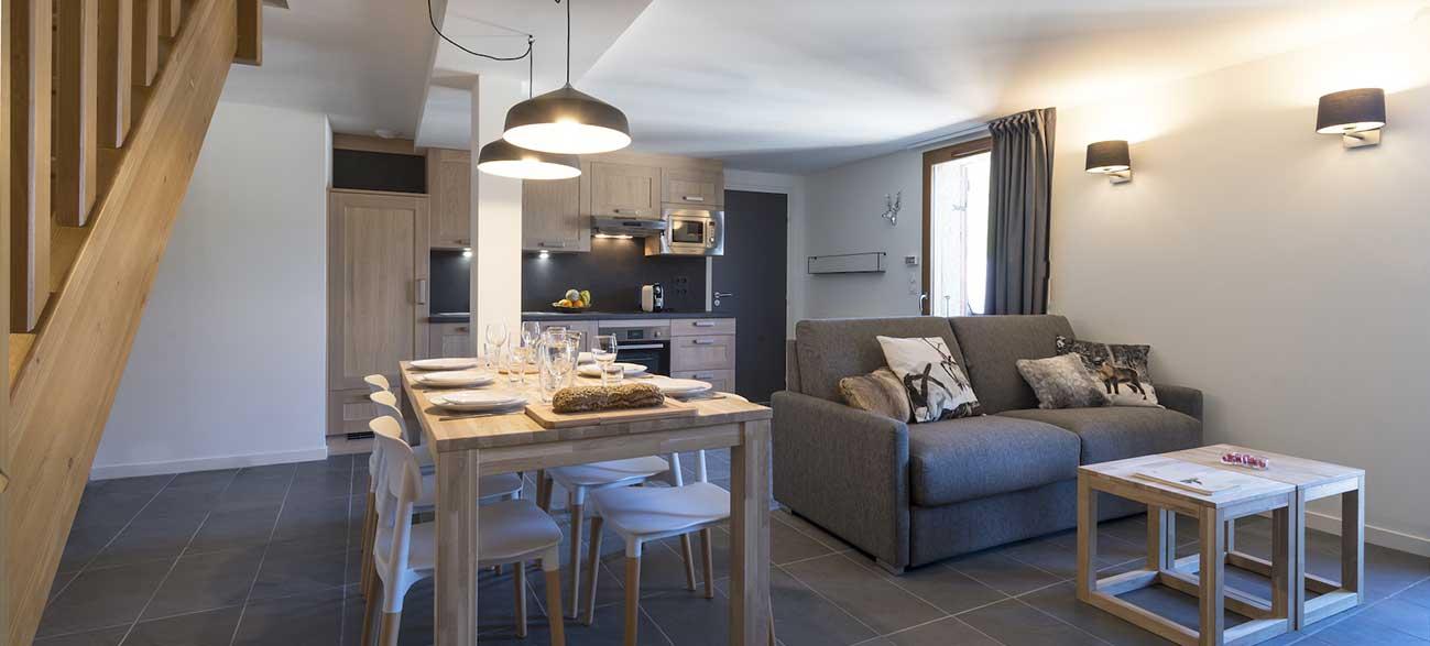 Cuisine d'un appartement dans la Résidence du Grand Veymont