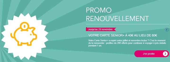 prix de la carte senior sncf Promo renouvellement carte senior SNCF pour réaliser des économies