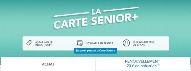 Page de renouvellement de la carte senior+ sur les site web de la SNCF