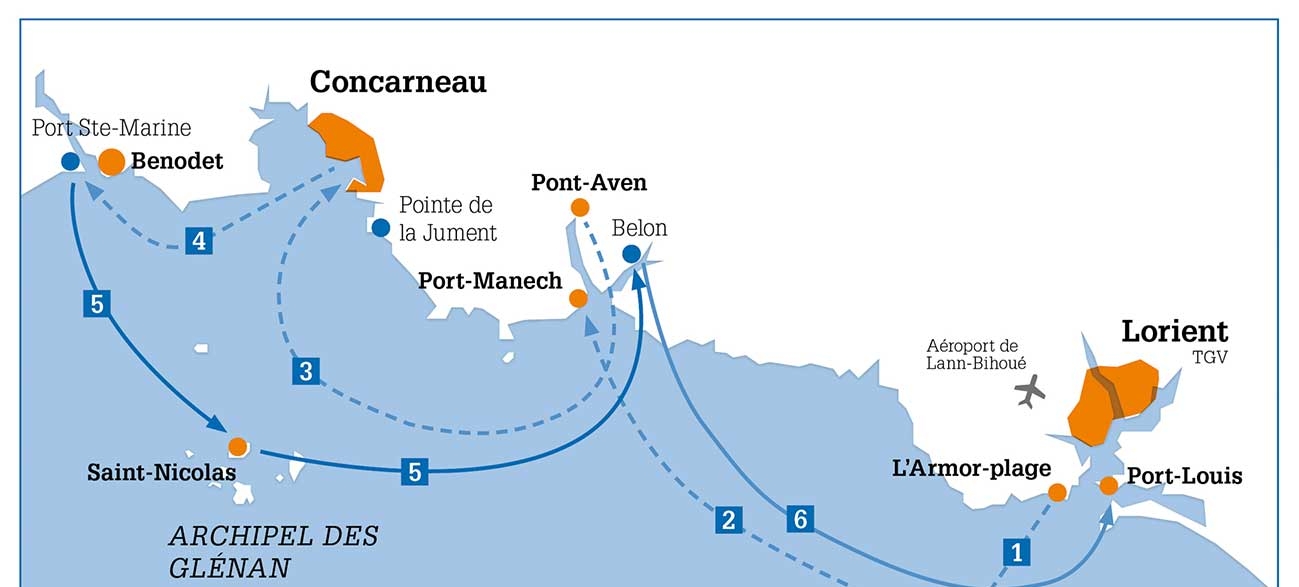 Itinéraire de la Croisières Voile et Randonnée en Finistère
