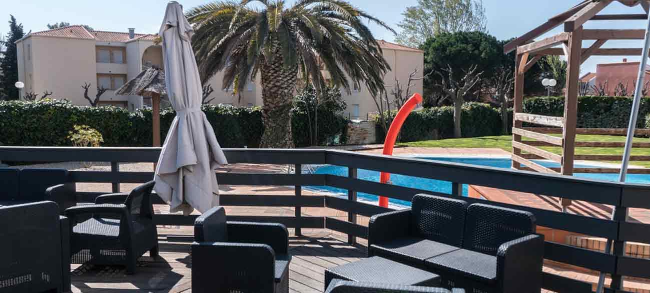 Belle terrasse d'hôtel à Canet-en-Roussillon