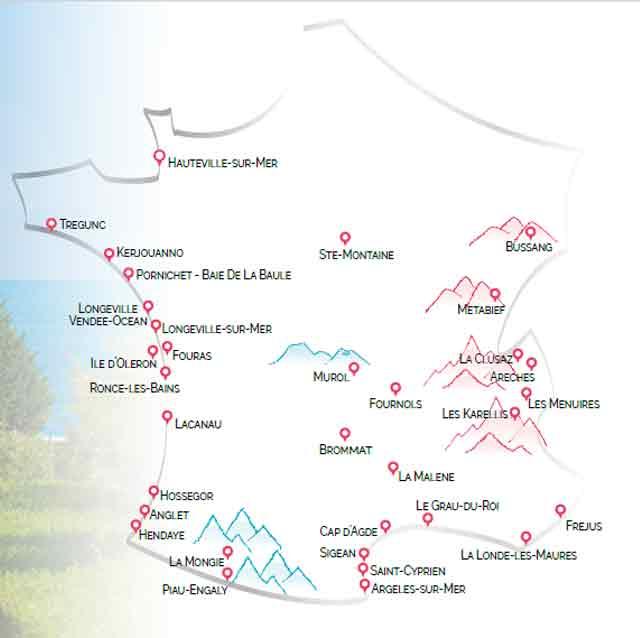 Destinations Azureva résidences et villages vacances en France