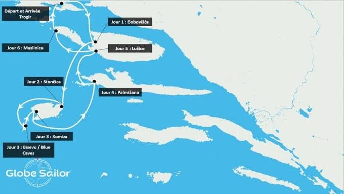Itinéraire de votre croisière en Croatie, découverte des îles Dalmates.