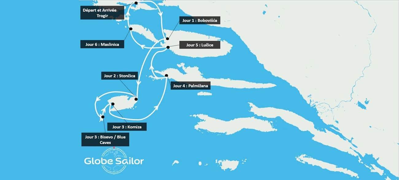 Itinéraire lors de votre croisière en Croatie