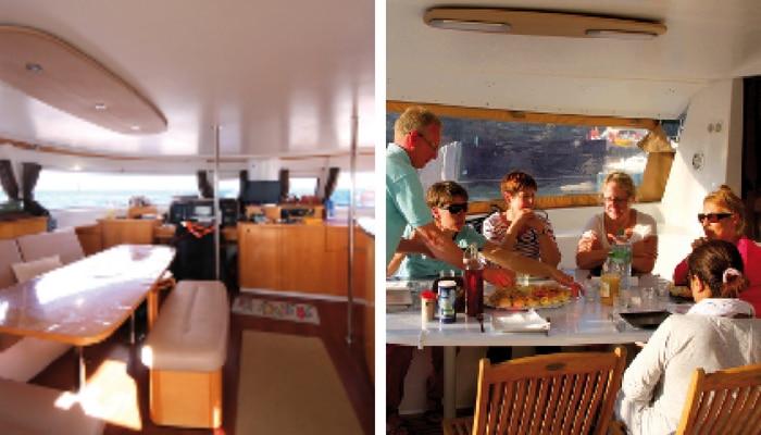Repas à bord du catamaran