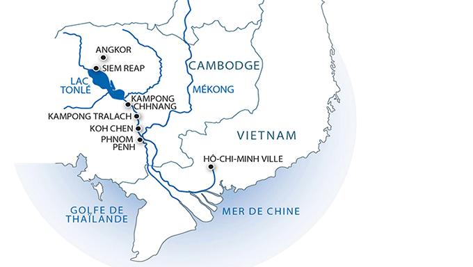 Itinéraire de la croisière sur le Mekong