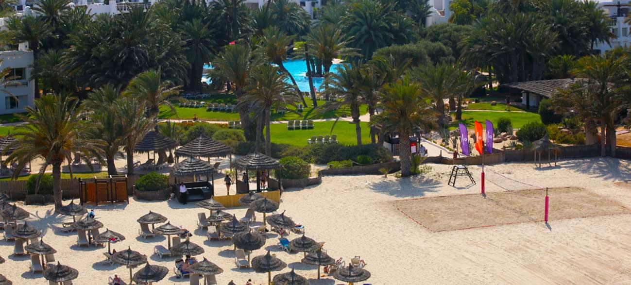 Plage de l'hôtel Odyssée Resort Zarzis Tunisie pour séjour longue durée