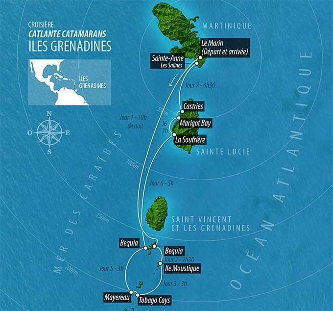Carte la croisière aux îles Grenadines