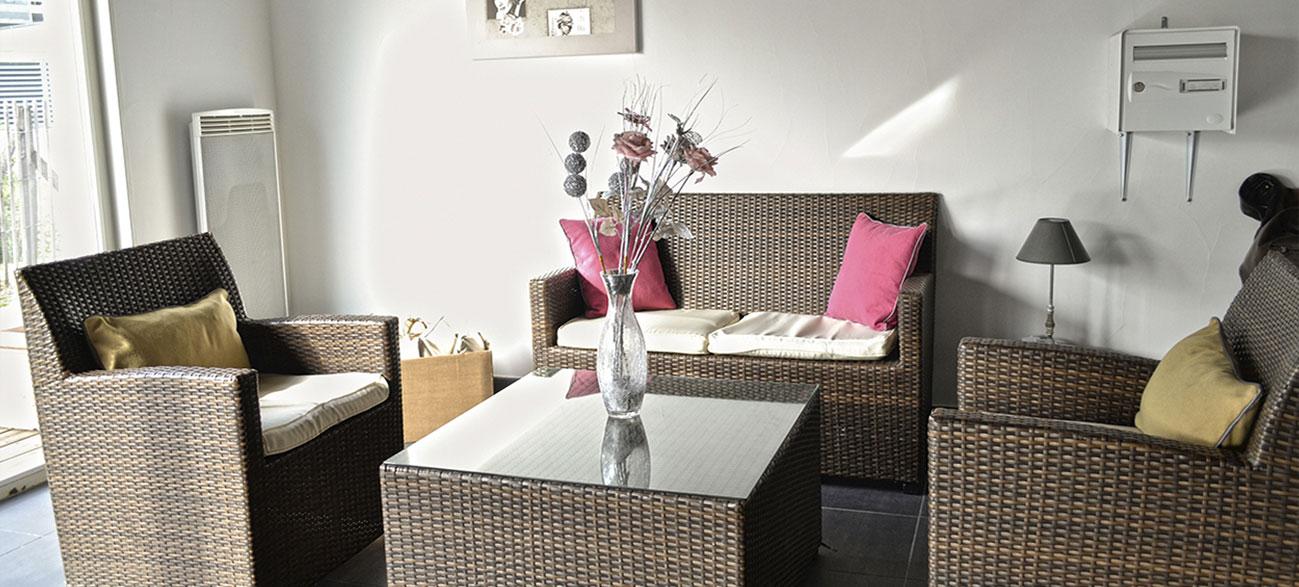 Coin salon dans un appartement d'une résidence hôtel à Aix Les Bains