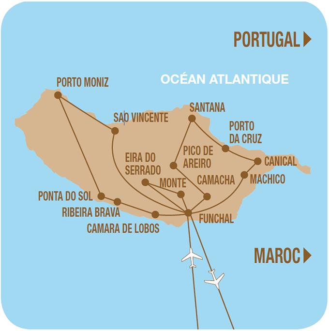 Carte de votre circuit à Madère