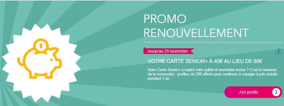 Promotion 2018 renouvellement carte senior SNCF