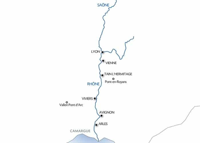 Carte fluviale Croisière Rhône Pittoresque
