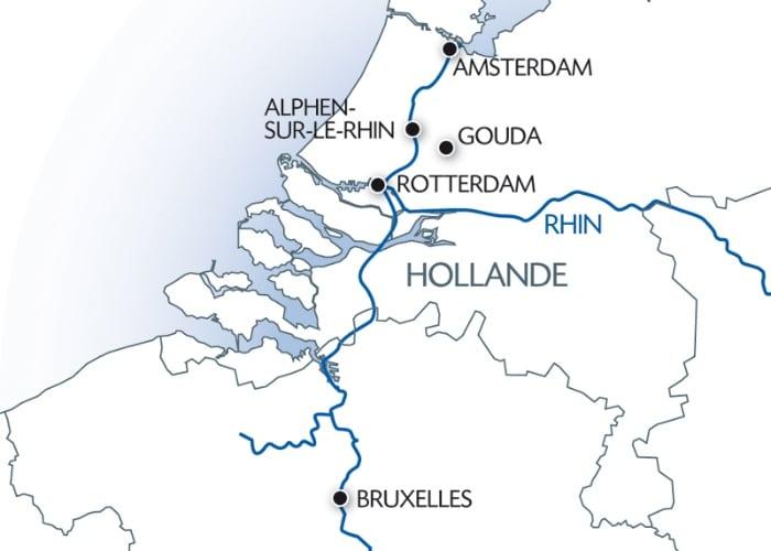 Carte fluviale Croisière Hollande CroisiEurope