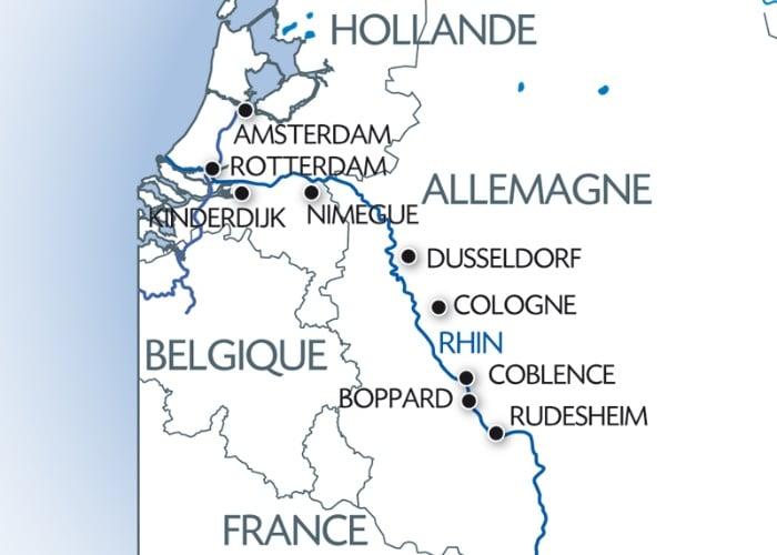 Carte fluviale Croisière Rhin Hollande, Allemagne CroisiEurope