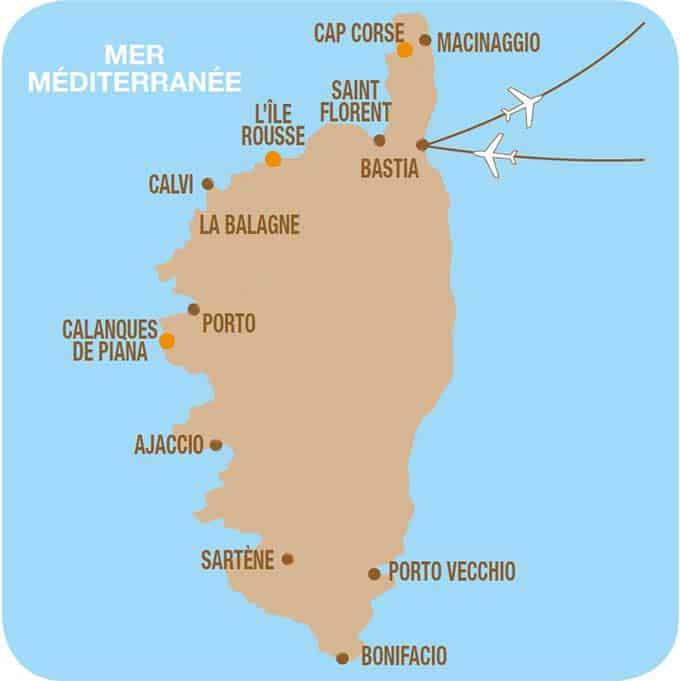 Carte de votre séjour en Corse