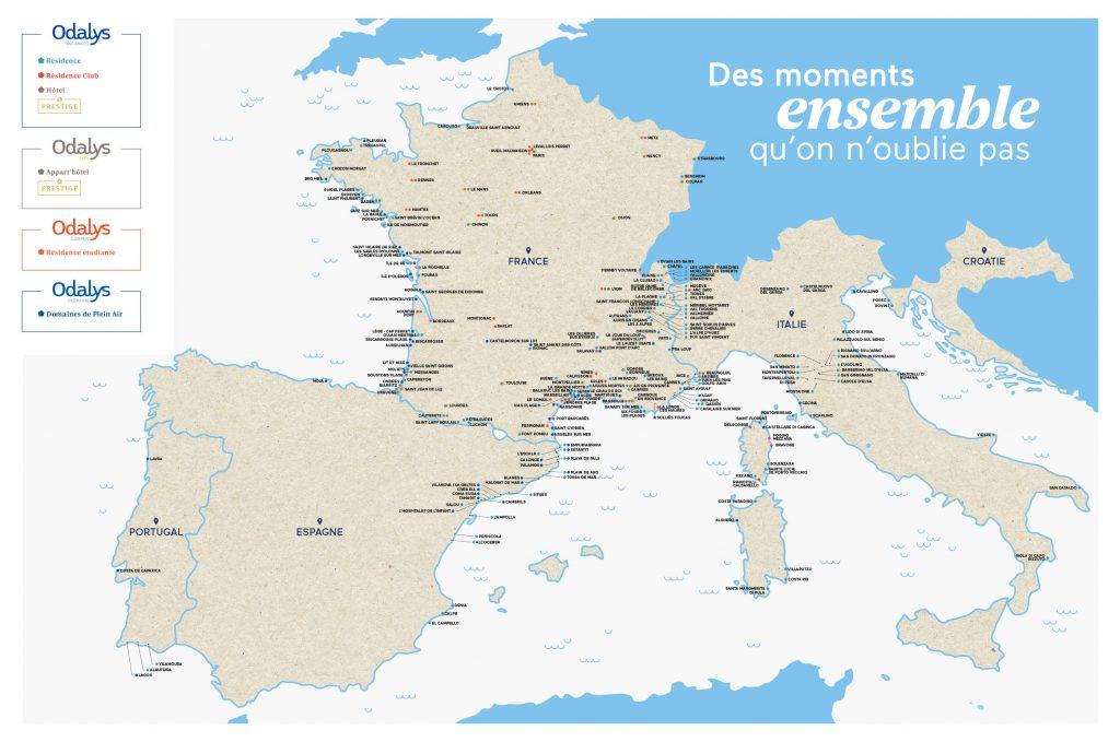 Carte des résidences Odalys Vacances