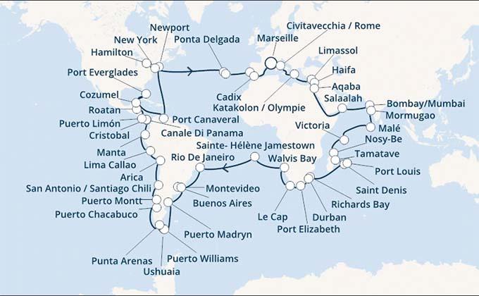 Tour du monde à partir de Marseille