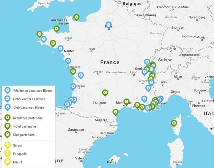 Carte des hébergements Vacances Bleues en France