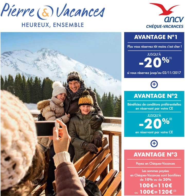 Bonification ANCV : Pierre & Vacances bonifie les sommes payées en Chèques-vacances