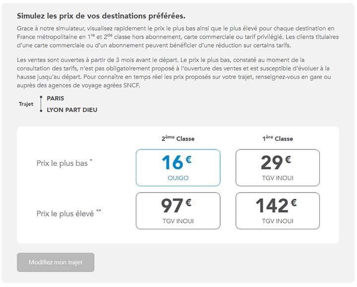 Outil SNCF : simuler les prix de vos destinations