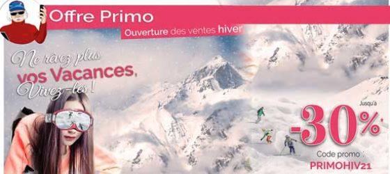 Première Minute Azureva : offre PRIMO hiver 2021