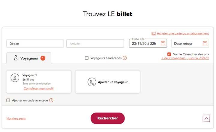 Formulaire calendrier des meilleurs prix SNCF