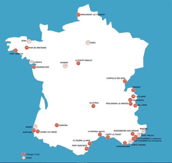 Cartes des destinations de vacances Miléade